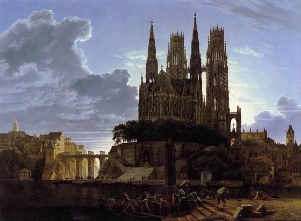 SCHINKEL Karl Friedrich Medieval Town By Water